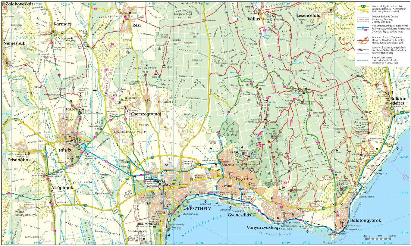 Keszthely Hills Hiking Map Gyenesdias